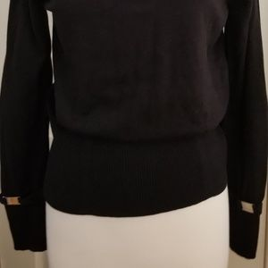 Peck & Peck Black Sweater w/Poof Sleeve